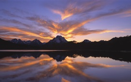 Preview wallpaper Lake, mountains, sky, clouds, sunset, water reflection