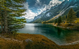 Preview wallpaper Lake, mountains, trees, forest, sky, clouds
