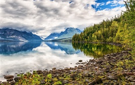 Lake, mountains, water reflection, forest, clouds