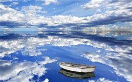 Preview wallpaper Lake, sky, clouds, boat, water reflection