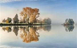 Aperçu fond d'écran Lac, arbres, ballon, brouillard, matin, automne