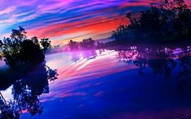 호수, 나무, 구름, 색, 일몰