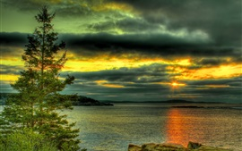 Preview wallpaper Lake, trees, stones, clouds, sunset, HDR style