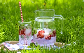 Lemonade, strawberry, drinks, ice, glass cups, green grass