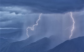 Lightning, mountains, clouds, storm