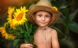 Little boy and sunflowers, hat, summer
