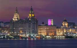 Liverpool, inglaterra, cais, rio, luzes, cidade, noturna