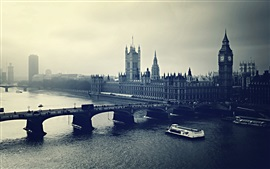 London, city, bridge, river, retro style