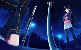 Preview wallpaper Long hair anime girl, night, lights, sword