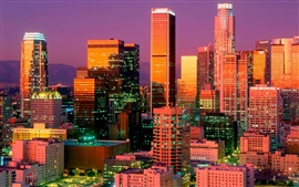 Preview wallpaper Los Angeles, night, skyscrapers, lights, USA