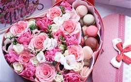 Love heart shaped box, macaroon, pink roses