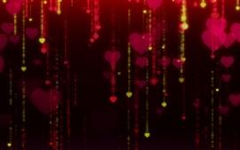 Coeurs d'amour, éblouissement, fond noir