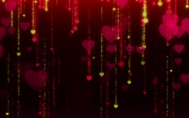 Love hearts, glare, black background
