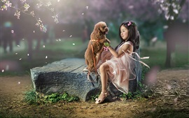 Lovely Asian little girl and dog, friends