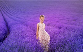 Preview wallpaper Lovely little girl, lavender flowers field