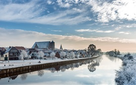 Lower Saxony, Germany, winter, snow, river, houses