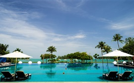 Malaysia, Langkawi, resort, sun loungers, pool, sea, palm trees