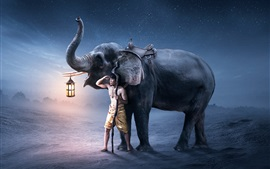 Preview wallpaper Man and elephant, lantern, creative picture