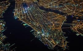 Manhattan, New York, city night, top view, lights, skyscrapers, USA