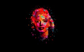 Preview wallpaper Marilyn Monroe, art picture, black background