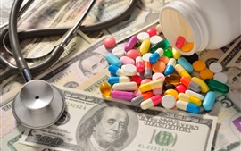 Medicine, drugs, colorful, dollars