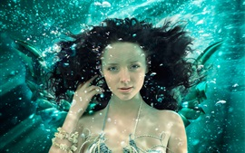 Preview wallpaper Mermaid, face, underwater, bubbles