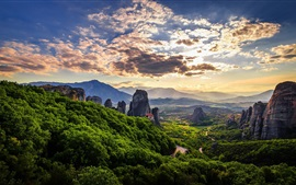 Preview wallpaper Meteora, Greece, mountains, forest, clouds, sky, dusk