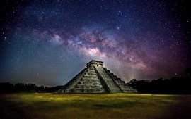 Preview wallpaper Mexico, Pyramid, night, starry