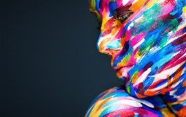 Preview wallpaper Model girl face, colorful paint, art photography