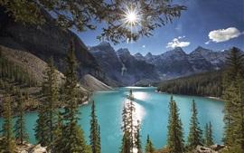 Moraine Lake, trees, mountains, sun rays, Canada