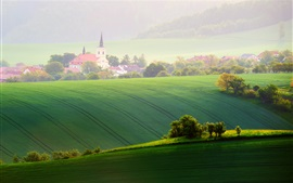Moravia, fields, trees, spring, chapel, Czech Republic