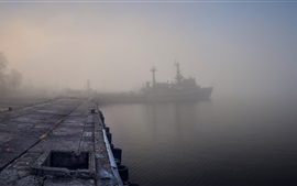 Morning, dock, river, ship, fog