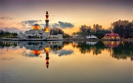 Mosque, minaret, lake, evening, sunset