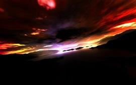 Горы, озеро, острова, облака, закат, сумерки