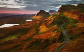 Montanhas, estrada, lago, nuvens, natureza paisagem