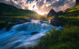 Mountains, rocks, stream, grass, water, sky, sun rays