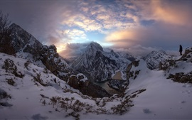 Mountains, snow, people, river, clouds, morning