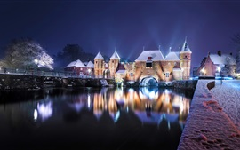 Preview wallpaper Netherlands, castle, river, bridge, snow, lights, night