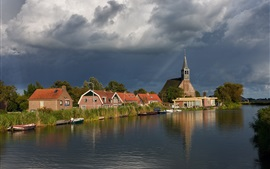 Preview wallpaper Netherlands, houses, river, boats, reeds