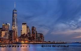 Ciudad de Nueva York, Estados Unidos, noche, luces, río, rascacielos