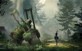 Preview wallpaper Nier: Automata, forest, sword, robot