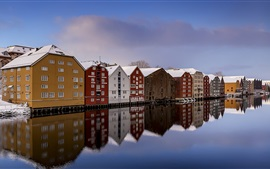 Norway, Trondheim, river, snow, winter, houses, colorful