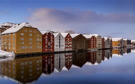 Noruega, trondheim, rio, neve, inverno, casas, coloridos