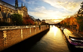 Preview wallpaper Notre Dame, Paris, France, trees, river, morning, sunrise