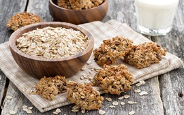 Preview wallpaper Oatmeal, milk, cookies, food