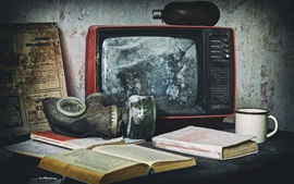 Preview wallpaper Old TV, mask, books, cup
