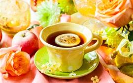One cup tea, lemon slice, apples, flowers, roses