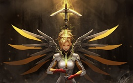 Preview wallpaper Overwatch, Mercy, girl, wings, sword