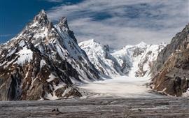 Pakistán, glaciar Biafo, invierno, nieve, montañas