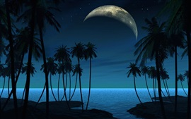 Palm trees, planet, night, creative picture